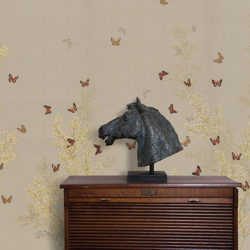 contemporary wallpaper / silk / animal motif / chinoiserie