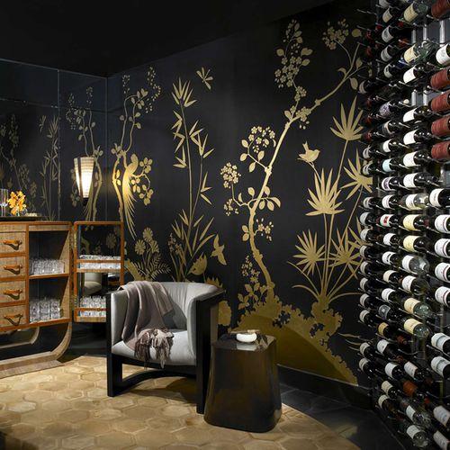 contemporary wallpaper / chinoiserie / handmade / hand-painted