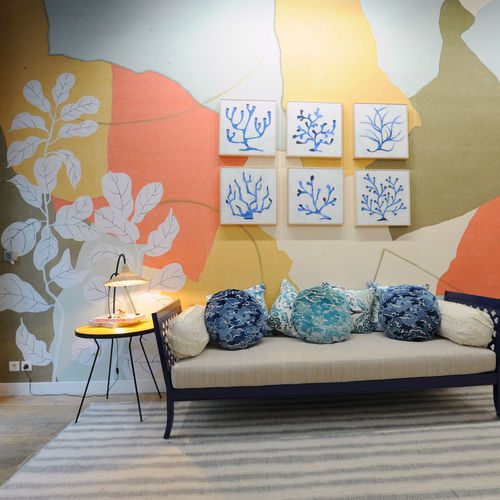 contemporary wallpaper / patterned / handmade / hand-painted