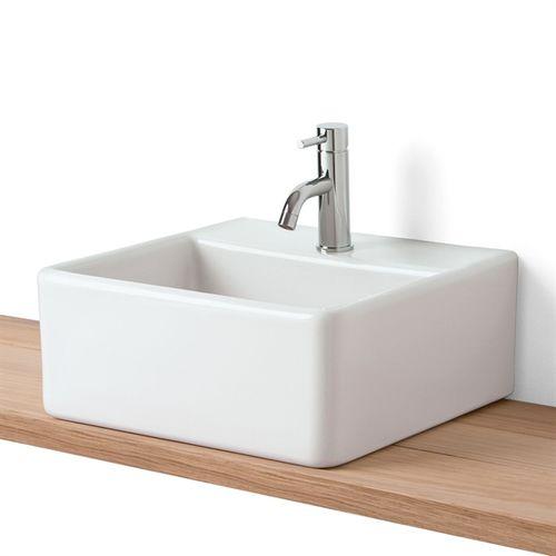 countertop washbasin / rectangular / stoneware / contemporary