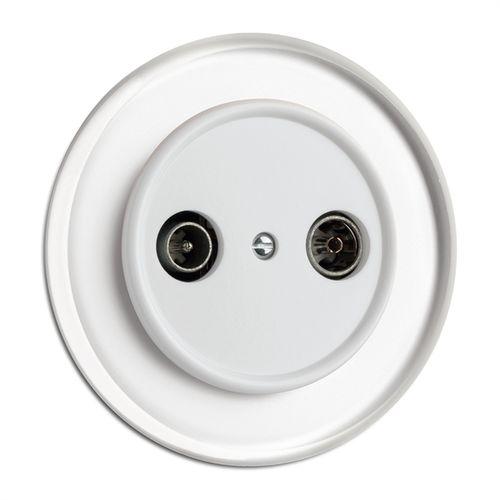 TV socket / radio / double / wall-mounted