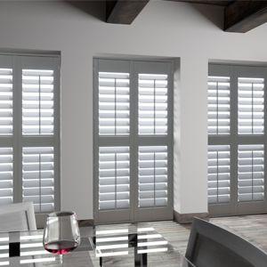 louvre shutter / wooden / stainless steel / window