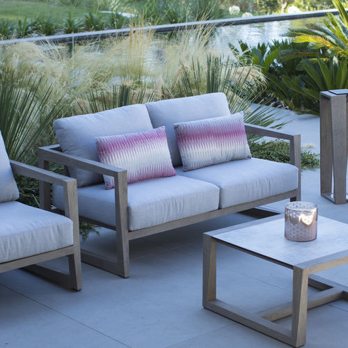 contemporary sofa / outdoor / Sunbrella® / teak - Contemporary Sofa / Outdoor / Sunbrella® / Teak - SKAAL - LES JARDINS