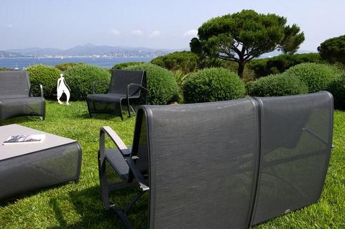 contemporary armchair / aluminium / Batyline® / garden