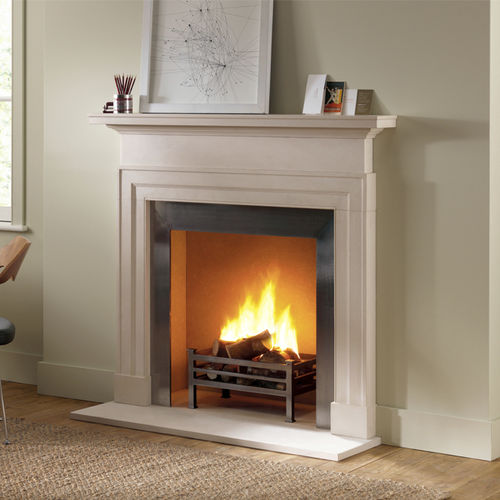 contemporary fireplace mantel / limestone