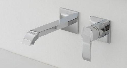 washbasin mixer tap / wall-mounted / chromed metal / nickel