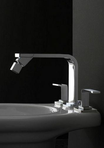 double-handle bidet mixer tap / free-standing / nickel / chromed metal