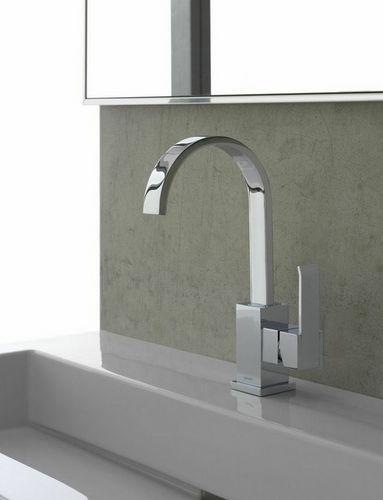 washbasin mixer tap / chromed metal / nickel / bathroom