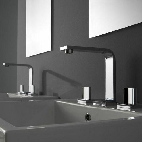 double-handle washbasin mixer tap / wall-mounted / nickel / chromed metal