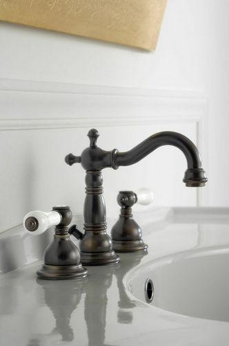 double-handle washbasin mixer tap / free-standing / nickel / chromed metal