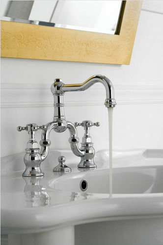 double-handle washbasin mixer tap / free-standing / nickel / chromed metal