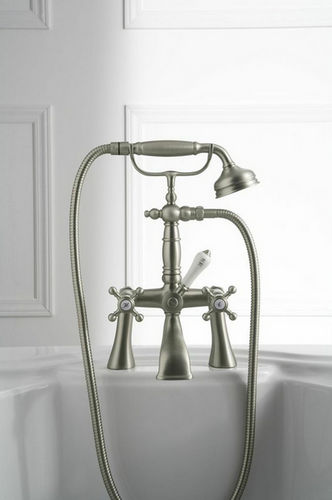 double-handle bathtub mixer tap / deck-mounted / nickel / chromed metal