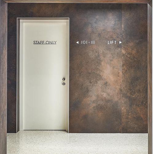 Cover panel / ceramic / for interior fittings / textured OSSIDO LAMINAM