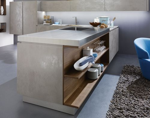 Interior fitting decorative panel / for kitchens / ceramic / 3D effect OXIDE: GRIGIO LAMINAM