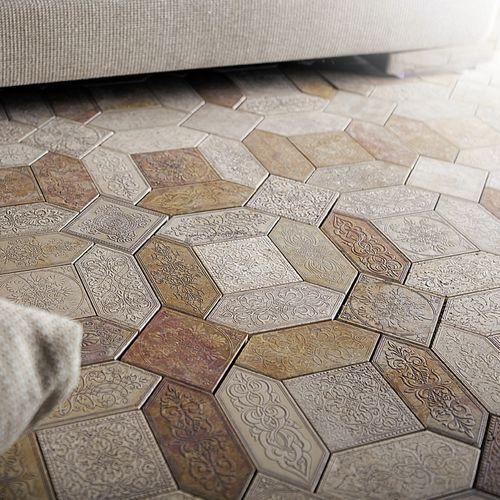 indoor tile / floor / marble / hexagonal