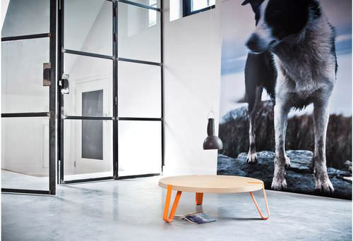 contemporary coffee table / wooden / round
