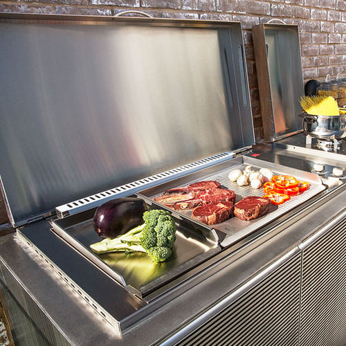 gas barbecue / built-in / stainless steel / stone