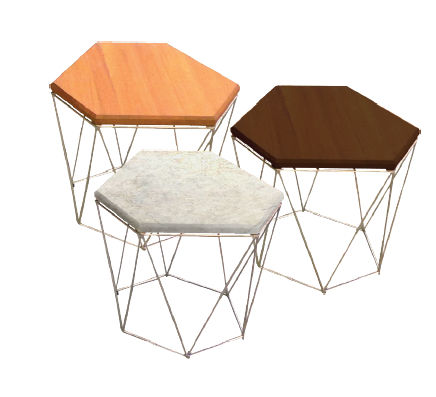 contemporary side table / teak / pentagonal / garden