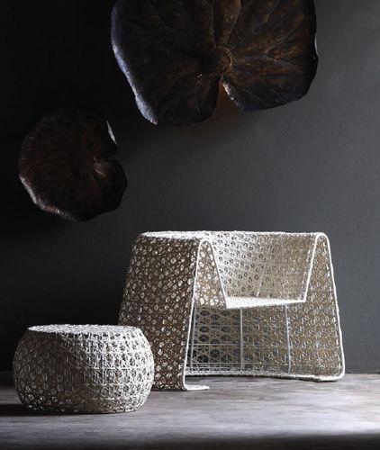 contemporary pouf / rattan