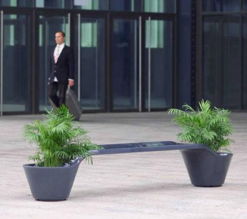 public bench / contemporary / fiberglass / with integrated planter
