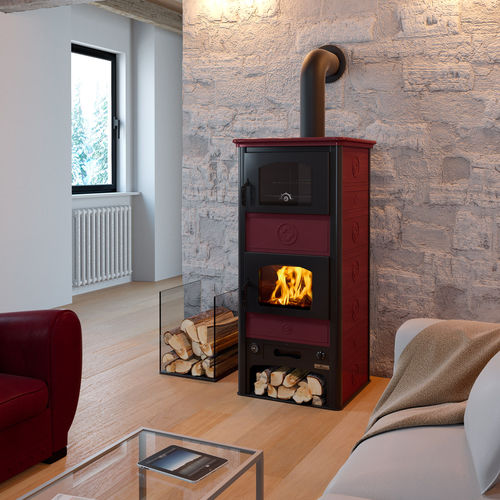 wood boiler stove / traditional / steel / with oven
