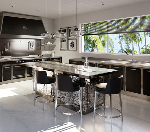 contemporary kitchen / metal / island / with handles