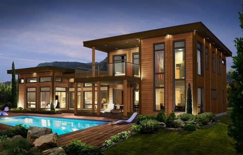 Prefab house / log / contemporary / timber frame house PASADENA TIMBER BLOCK