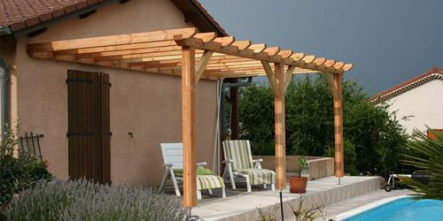 wall-mounted pergola / wooden / wooden canopy / custom