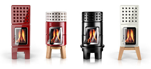 wood heating stove / contemporary / metal / earthenware