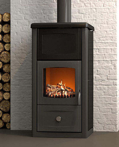 wood heating stove / contemporary / stone / steel