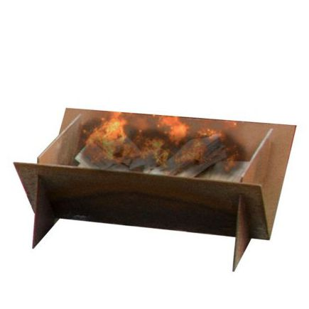 wood-burning fire pit / COR-TEN® steel / with barbecue
