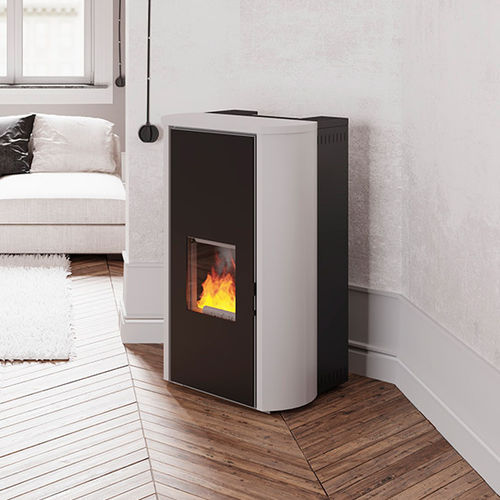 pellet boiler stove / multi-fuel / contemporary / steel