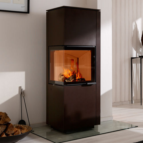 wood boiler stove / contemporary / corner / metal