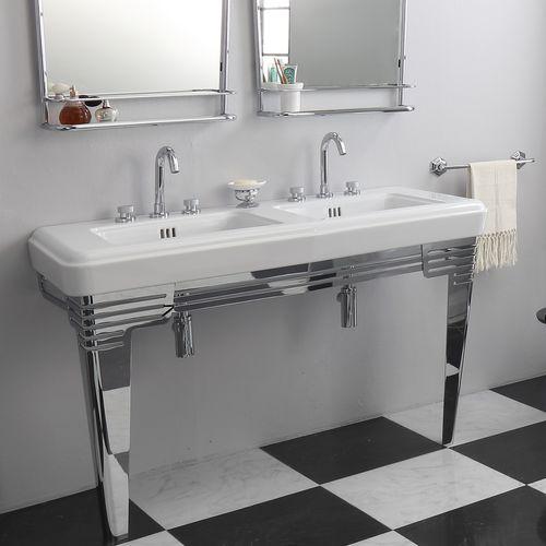 Double washbasin / free-standing / rectangular / ceramic SO FIFTIES BLEU PROVENCE