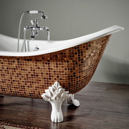 Bathtub with legs / oval / cast iron FINITION MOSAÏC ET MOTIFS BLEU PROVENCE