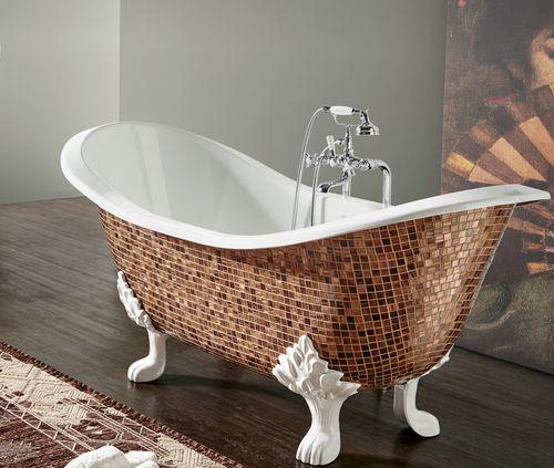 Bathtub with legs / oval / cast iron BAIGNOIRE EN FONTE MOSAIC BLEU PROVENCE
