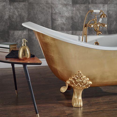 Bathtub with legs / cast iron LAVANDE FINITION FEUILLE D'OR BLEU PROVENCE