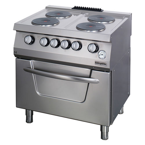 electric range cooker / commercial / stainless steel / 4 burners