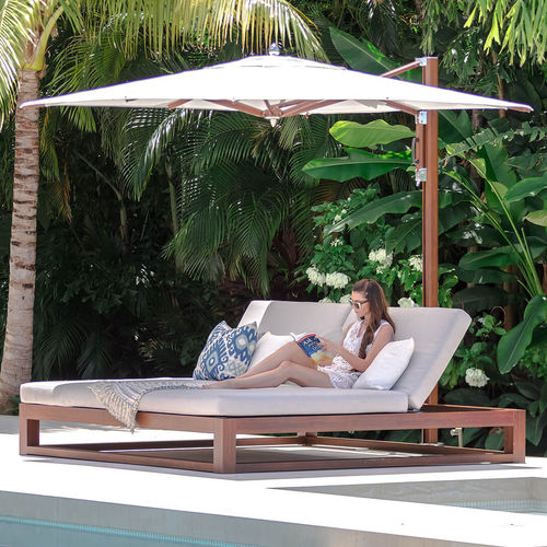 contemporary sun lounger / fabric / aluminum / commercial