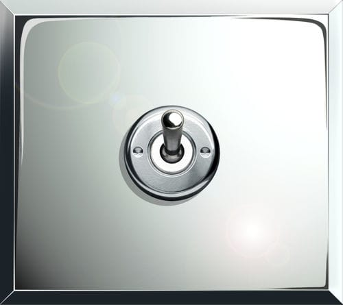 light switch / toggle / double / metal