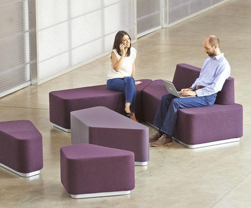 modular upholstered bench / contemporary / leather / fabric