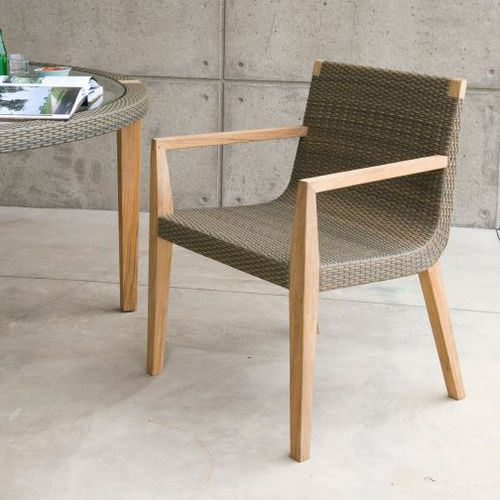 contemporary visitor armchair / teak / white / outdoor