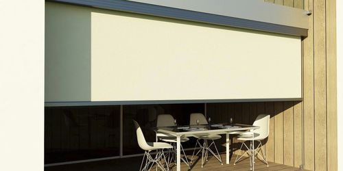roller blinds / fabric / outdoor / motorized
