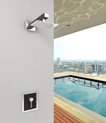 Shower mixer tap / wall-mounted / stainless steel / carbon fiber MIX CARBON R (51037) Inoxstyle
