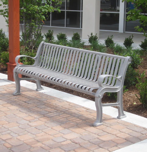 public bench / traditional / ipe / steel