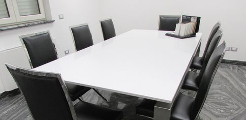 contemporary boardroom table / stone / rectangular / white