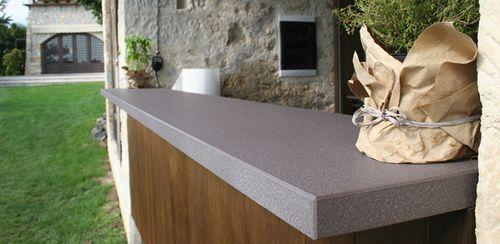 bar counter / stone / upright / L-shaped