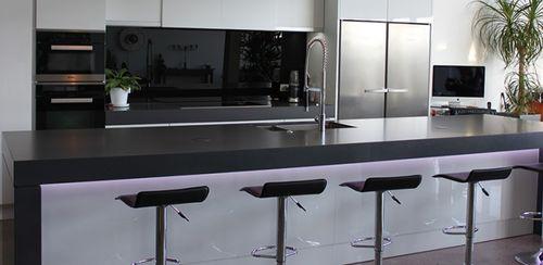 Natural stone countertop / kitchen / black SATIN lapitec