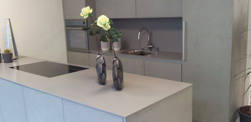 Natural stone kitchen worktop / kitchen SATIN : GRIGIO CEMENTO lapitec