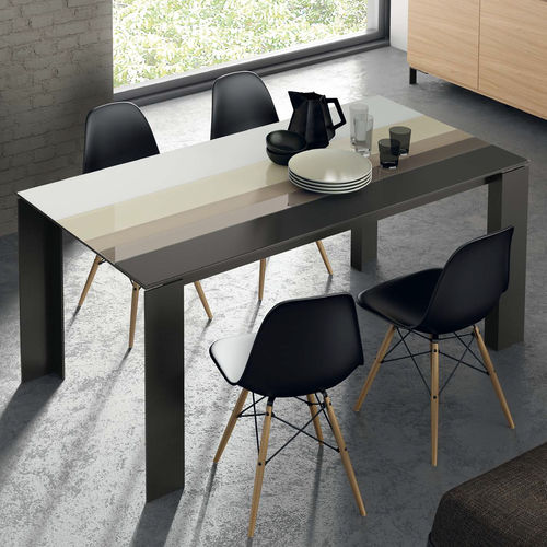 Contemporary dining table / wooden / ceramic / lacquered glass T07  VIVE - MUEBLES VERGE S.L.